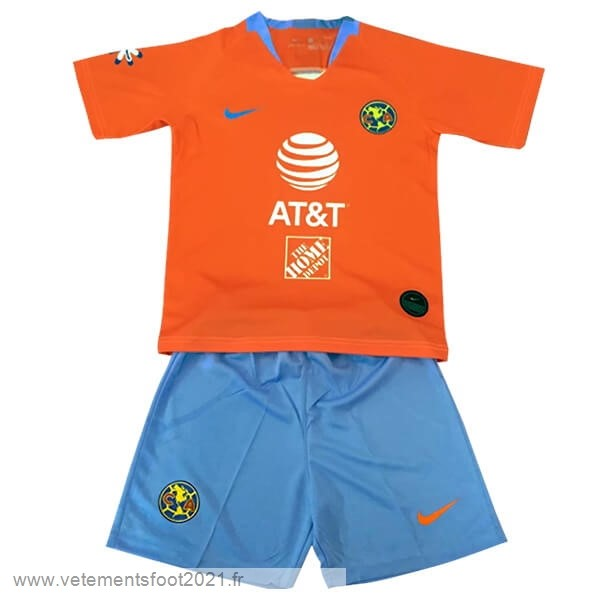 Third Conjunto De Enfant Club América 2019 2020 Orange Maillot De Sport